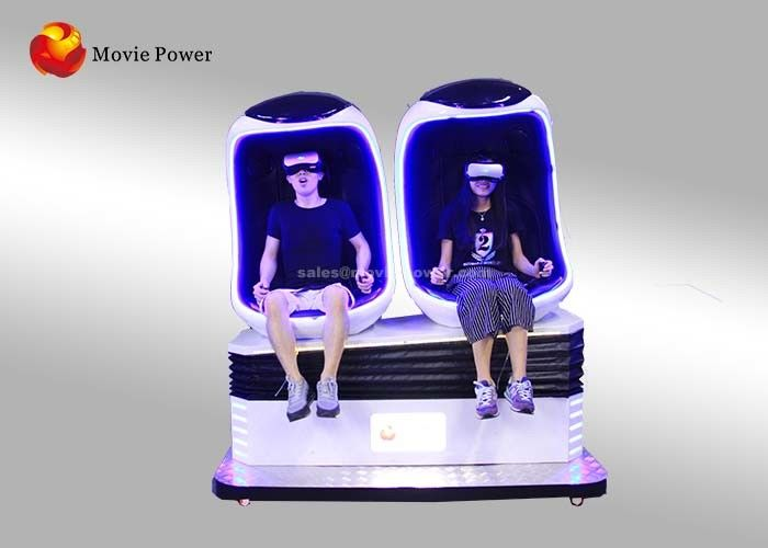 Fashionable Electric 9D VR Cinema / Virtual Reality Egg Motion Chair With Double Seats